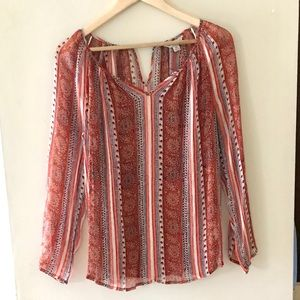 Lucky Brand orange/brown print blouse - Size XS